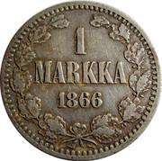 Finland Markka Aleksandr II 1866 S KM# 3.1 1 MARKKA 1865 coin reverse
