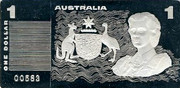 Australia One Dollar Masterpieces in Silver - Banknote ingot 1990 Proof 1 AYSTRALIA 1 ONE DOLLAR coin obverse
