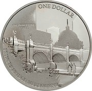 Australia One Dollar Princes Bridge Melbourne 2011 ONE DOLLAR ONE OUNCE FINE SILVER PRINCES BRIDGE MELBOURNE coin reverse