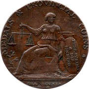 UK ½ Penny Warwickshire - Wilkinson-Pecunia) 1791-1793 MEDALS & PROVINCIAL COINS * ENGRAVING & DIE SINKING DEA PECUNIA coin reverse