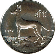 Malta Pound Maltese Hunting Dog 1977 Proof KM# 45 LM1 1977 coin reverse