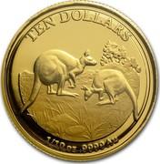 Australia Ten Dollars Explorers First Sightings Kangaroo 2014 TEN DOLLARS 1/10 OZ .9999 AU C coin reverse