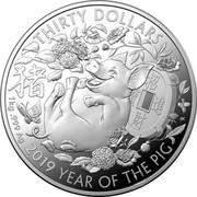 Australia Thirty Dollars Year of the Pig (豬) 2019 Proof THIRTY DOLLARS 1 KG .999 AG 2019 YEAR OF THE PIG coin reverse