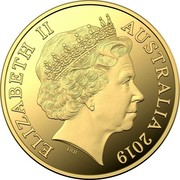 Australia Twenty Five Dollars Year of the Pig (Gold Lunar Series II) 2019 Proof ELIZABETH II AUSTRALIA 2019 coin obverse