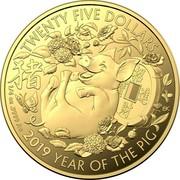 Australia Twenty Five Dollars Year of the Pig (Gold Lunar Series II) 2019 Proof 2019 YEAR OF THE PIG TWENTY FIVE DOLLARS 1/4 OZ 9999 AU coin reverse