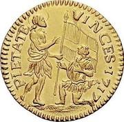 Malta Zecchino Ramon Perellos y Roccaful 1717 KM# 133 PIETATE VINCES∙1717 coin reverse