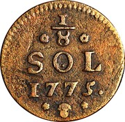 Luxembourg 1/8 Sol Maria Theresa 1775 (b) KM# 5 1/8 SOL 1775 coin reverse