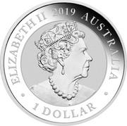 Australia 1 Dollar Bird of Paradise Manucode 2019 ELIZABETH II 2019 AUSTRALIA 1 DOLLAR coin obverse