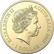 Australia 1 Dollar II ICC Cricket world Cup 2019 UNC in Coincard ELIZABETH II AUSTRALIA 2019 IRB 1 DOLLAR coin obverse