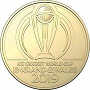 Australia 1 Dollar II ICC Cricket world Cup 2019 UNC in Coincard ICC CRICKET WORLD CUP ENGLAND & WALES 2019 coin reverse