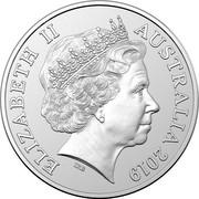 Australia 1 Dollar Mob of Roos 2019 Singapore Merlion privy ELIZABETH II AUSTRALIA 2019 IRB coin obverse
