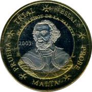Malta 1 E Jean Parisot de la Valette 2003 UNC X# Pn16 TRIAL ESSAI JEAN PARISOT DE LA VALETTE 2003 PRUEBA MALTA PROBE coin obverse