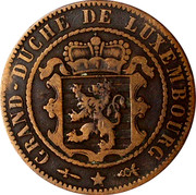 Luxembourg 10 Centimes 1854 (u) KM# 23.1 Standard Coinage Resumed 10 CENTIMES 1854 A BARTH coin obverse