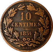 Luxembourg 10 Centimes 1854 (u) KM# 23.1 Standard Coinage Resumed GRAND DUCHE DE LUXEMBOURG coin reverse