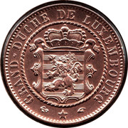 Luxembourg 10 Centimes Willem III 1860 A KM# 23.2 GRAND DUCHÉ DE LUXEMBOURG coin obverse