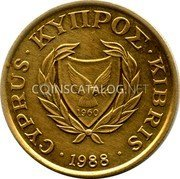 Cyprus 10 Cents 1988 KM# 56.2 Reform Coinage coin obverse