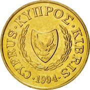 Cyprus 10 Cents Type 2 coat of arms 1994 KM# 56.3 CYPRUS ∙ ΚΥΠPΟΣ ∙ KIBRIS ∙ 2002 1960 coin obverse