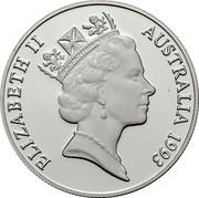 Australia 10 Dollars Cockatoo. Piedfort 1993 Proof; Piedfort KM# 221a ELIZABETH II AUSTRALIA 1993 RDM coin obverse