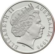 Australia 10 Dollars Wombat. Piedfort 1998 Proof KM# 397a ELIZABETH II AUSTRALIA 1998 IRB coin obverse