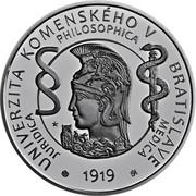 Slovakia 10 Euro 100th anniversary of Comenius University in Bratislava 2019 SLOVENSKO 2019 10 EURO UNIVERSITAS COMENIANA BRATISLAVENSIS coin obverse