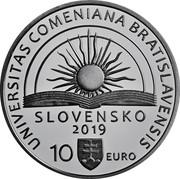 Slovakia 10 Euro 100th anniversary of Comenius University in Bratislava 2019 JURIDICA PHILOSOPHICA MEDICA UNIVERZITA KOMENSKÉHO V BRATISLAVE 1919 coin reverse