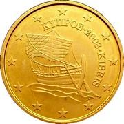 Cyprus 10 Euro Cent Kyrenia ship 2008 KM# 81 ΚΥΠΡΟΣ ∙ 2009 ∙ KIBRIS coin obverse