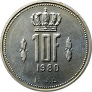 Luxembourg 10 Francs 1980 Proof KM# 57a Standard Coinage Resumed 10F 1980 N.J.L. coin reverse