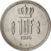Luxembourg 10 Francs Jean 1974 KM# 57 10F 1974 N.J.L. coin reverse