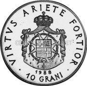 Malta 10 Grani (Crowned and Mantled Arms) X# 136 VIRTVS ARIETE FORTIOR 1988 10 GRANI coin reverse