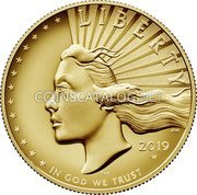 USA $100 (American Liberty) LIBERTY 2019 W IN GOD WE TRUST coin obverse
