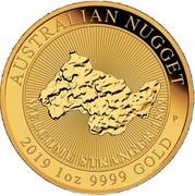Australia 100 Dollars Nugget - Welcome Stranger 1869 2019 P BU AUSTRALIAN NUGGET 2019 1OZ 9999 GOLD WELCOME STRANGER 1869 coin reverse
