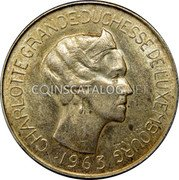 Luxembourg 100 Francs 1963 KM# 52 Standard Coinage Resumed coin obverse