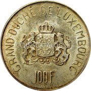 Luxembourg 100 Francs 1963 KM# 52 Standard Coinage Resumed coin reverse