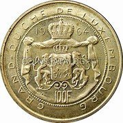 Luxembourg 100 Francs 1964 KM# 54 Standard Coinage Resumed coin reverse