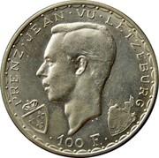 Luxembourg 100 Francs 600th Anniversary - John the Blind 1946 KM# 49 PRENZ JEAN VU LETZEBURG A.H. 100 F. coin obverse
