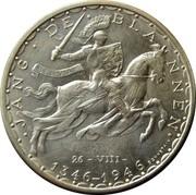 Luxembourg 100 Francs 600th Anniversary - John the Blind 1946 KM# 49 JANG DE BLANNEN SERVIAM 26-VIII- 1346 - 1946 BONNETAIN coin reverse