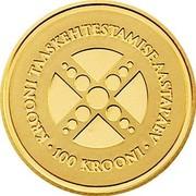 Estonia 100 Krooni Kroon 10 years 2002 KM# 39 KROONI TAASKEHTESTAMISE AASTAPÄEV • 100 KROONI • coin reverse