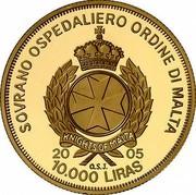 Malta 10000 Liras Pope and Swiss Guards 2005 Proof finish X# 319 SOVRANO OSPEDALIERO ORDINE DI MALTA KNIGHTS OF MALTA 2005 10.000 LIRAS O.S.J. coin obverse