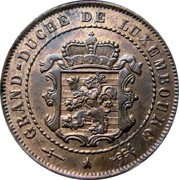 Luxembourg 2-1/2 Centimes 1854 (u) KM# 21 Standard Coinage Resumed 2 1/2 CENTIMES 1908 BAPTH coin obverse