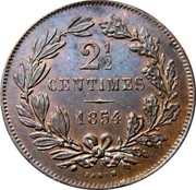 Luxembourg 2-1/2 Centimes 1854 (u) KM# 21 Standard Coinage Resumed GRAND ~ DUCHÉ DU LUXEMBOURG coin reverse