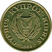 Cyprus 2 Cents Type 1 coat of arms bordered value number 1988 KM# 54.2 CYPRUS ∙ ΚΥΠΡΟΣ ∙ KIBRIS 1960 ∙1990∙ coin obverse