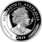 Australia 2 Dollars High Relief Double Dragon 2019 Proof ELIZABETH II AUSTRALIA 2 OZ 9999 AG 2 DOLLARS 2019 2OZ 9999 AG coin obverse