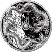 Australia 2 Dollars High Relief Double Dragon 2019 Proof  coin reverse