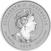 Australia 2 Dollars Silver Mother & Baby Crocodile 2019 ELIZABETH II AUSTRALIA 2 OZ 9999 AG 2 DOLLARS 2019 coin obverse
