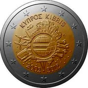 Cyprus 2 Euro 10 Years of Euro Banknotes and Coins 2012 KM# 97 ΚΥΠΡΟΣ KIBRIS A.H. € 2002 2012 coin obverse