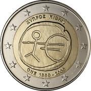 Cyprus 2 Euro 10th Anniversary of the Economic Monetary Union 2009 KM# 89 ΚΥΠΡΟΣ KIBRIS ONE 1999-2009 coin obverse