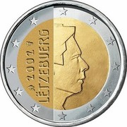Luxembourg 2 Euro 1st map 2002 (u) Proof KM# 82 LËTZEBUERG 2002 GC coin obverse