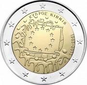Cyprus 2 Euro 30th Anniversary of the Flag of Europe 2015 KM# 102 ΚΥΠΡΟΣ KIBRIS 1985-2015 ΓΣ coin obverse