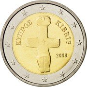 Cyprus 2 Euro Cruciform idol 2008 KM# 85 ΚΥΠΡΟΣ KIBRIS 2008 coin obverse