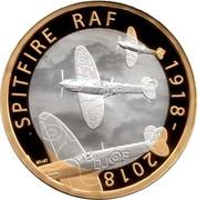 UK 2 Pounds RAF Spitfire 2018 Proof SPITFIRE RAF 1918 - 2018 coin reverse